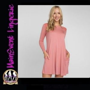 Pink Mesh Shoulder Long Sleeve Dress w/ Pockets